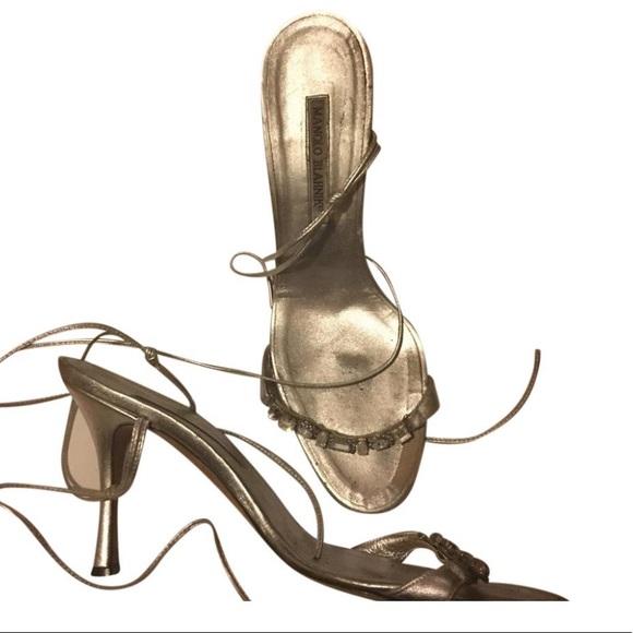 bc75ab1c5da0e Manolo Blahnik Shoes | Silver Crystal Stilettos 105 | Poshmark
